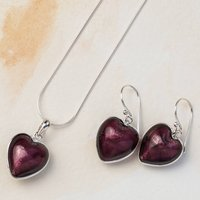 Heart Necklace And Earring Set In Murano Glass, Raspberry Pink/Raspberry/Pink