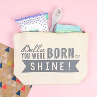 'Born To Shine' Personalised Nappy Changing Pouch, Black/Baby Pink/Pink