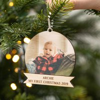 Personalised First Christmas Photo Bauble