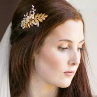 Gold Dust Grecian Pearl Bridal Comb, Gold/Silver