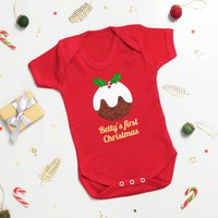 Personalised Pudding 'First Christmas' Babygrow