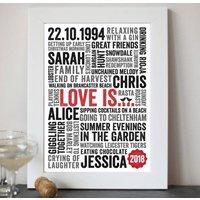 Personalised 'Love Is' Typography Print