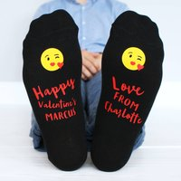 Personalised Valentine Emoji Men's Socks, Black