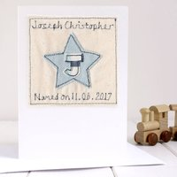 Personalised Boys Naming Day Card, Blue