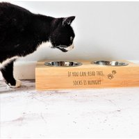 Cat Bowl With Personalised Wooden Stand