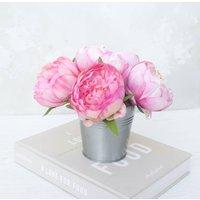 Bouquet Of Peonys In Metal Vase