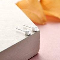 Cubed Sterling Silver Earrings, Silver