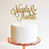Personalised Name Wedding Cake Topper, Gold/Silver/Champagne