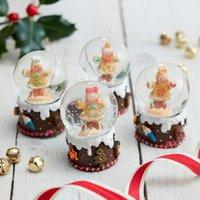 Set Of Four Gingerbread Mini Christmas Snow Globes