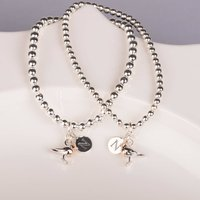Personalised Baby Robin Solid Silver Bead Bracelet, Silver