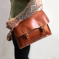 Personalised Buffalo Leather Classic Messenger In Tan