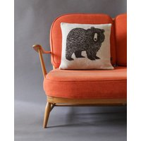 Brown Bear Cushion In Knitted Lambswool