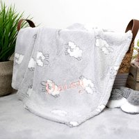 Personalised Grey Baby Blanket With Lambs