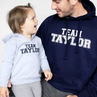 Team Surname Father And Child Hoodie Set, Navy/Burgundy/Grey
