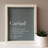Personalised 'Cariad' Wedding Print