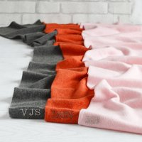 Pure Cashmere Ladies Personalised Scarf, Pink/Silver/Charcoal