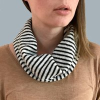 Ladies Striped Lambswool Snood, Ecru/Navy/Black