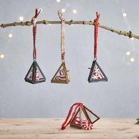 Set Of Two Tiny Triangular Decorations