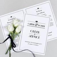 Art Deco Estelle Order Of Service Four Page Booklet