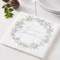 Mistletoe Wreath Merry Christmas Paper Napkins