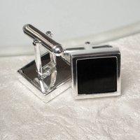 Whitby Jet Sterling Silver Cufflinks, Silver