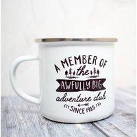 Personalised 'Awfully Big Adventure Club' Enamel Mug