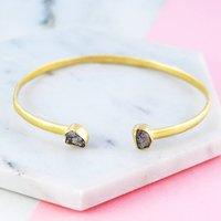 Double Diamond Birthstone Gold Cuff Bangle, Gold