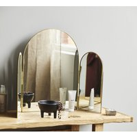 Free Standing Table Top Mirror With A Gold Edge