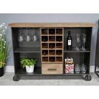 Industrial Metal Wine Cabinet On Wheels