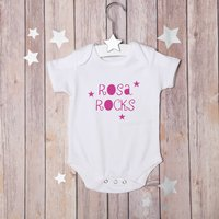 Personalise You Rock Bodysuit, Pink/White/Pale Blue