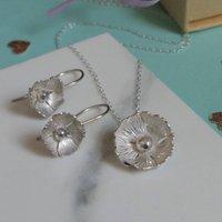 Flower Sterling Silver Jewellery Set, Silver