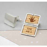 Personalised Sterling Silver Locket Handprint Cufflinks, Silver
