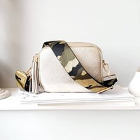 Gold Leather Handbag With Interchangeable Strap
