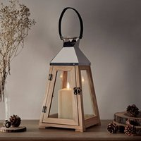 Wooden LED Candle Trapeze Lantern