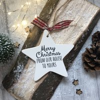 Personalised Christmas From Our House Ceramic Star