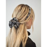 Plaid, Tartan Checker Print Scrunchie Headband Set