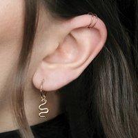 Garnet Snake Hoop Sterling Silver Or Gold Earrings, Silver