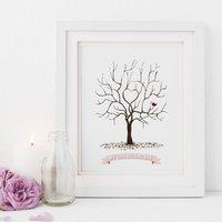 Christening Fingerprint Tree Print, Blue/Pink