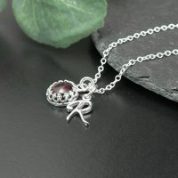 Garnet Necklace, Sterling Silver Personalised, Silver