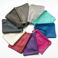 Soft Italian Leather Zip Up Clutch With Carry Handle