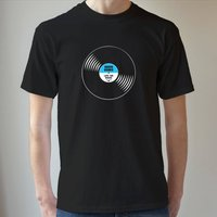 Personalised Mens T Shirt Vinyl Record, Red/Sky Blue/Blue