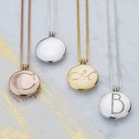 Initial Locket With Hidden Message, Silver/Rose Gold/Rose