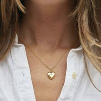 14k Gold Vermeil Diamond Star Set Heart Locket, Gold