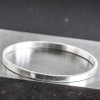 Personalised Sterling Silver Engraved Rectangle Bangle, Silver