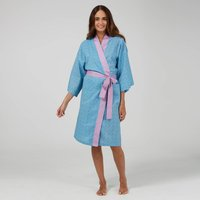 Kimono Dressing Gown In Blue Mini Orchid Print