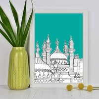 Brighton Pavilion Domes Art Print, Teal/Light Blue/Blue