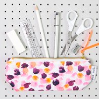 Painterly Petals Pink Pencil Case, Pink