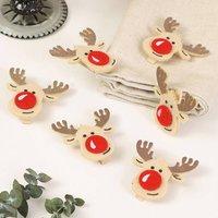Set Of Six Christmas Crafts Felt Reindeer Pegs