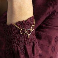 30th Birthday Gold Circles Birthstone Bracelet, Gold