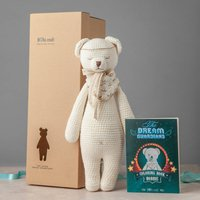 Personalised Hand Knitted Christening Polar Bear Teddy